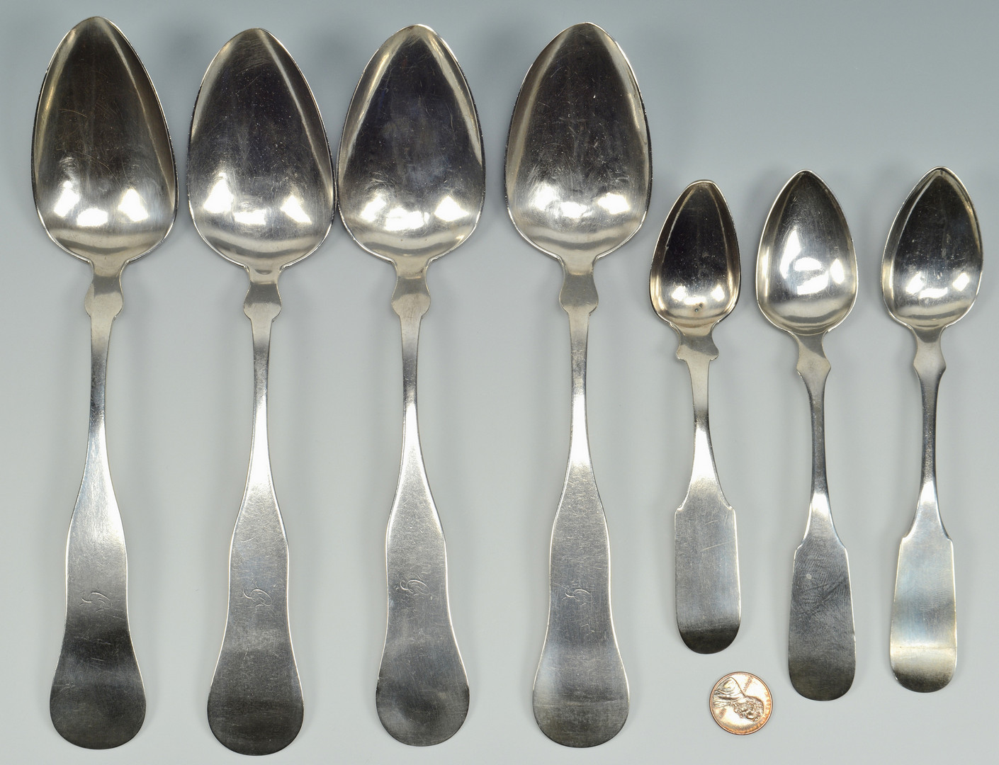 Lot 79: 7 Athens, TN Coin Silver Spoons