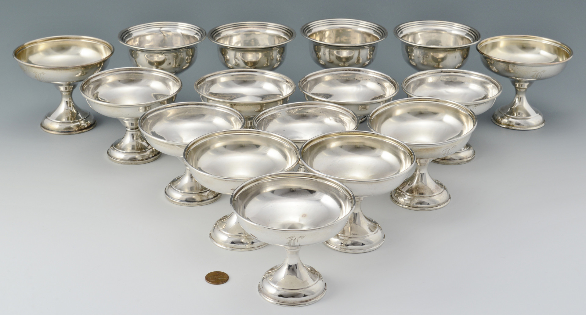 Lot 800: 16 Sterling Weighted Sherbets