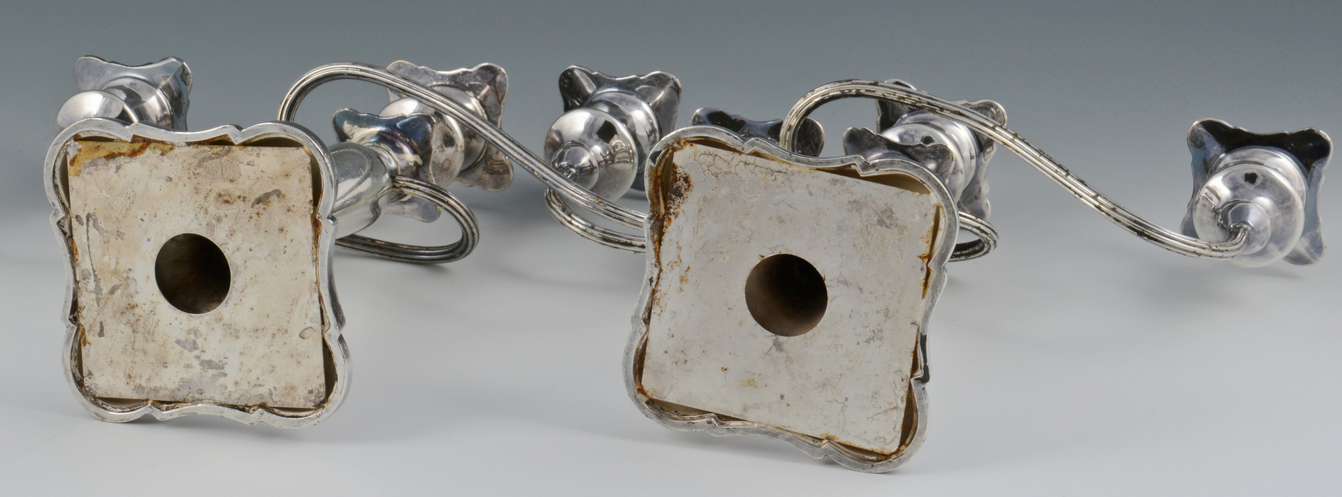 Lot 802: 3 Silverplate Candelabras