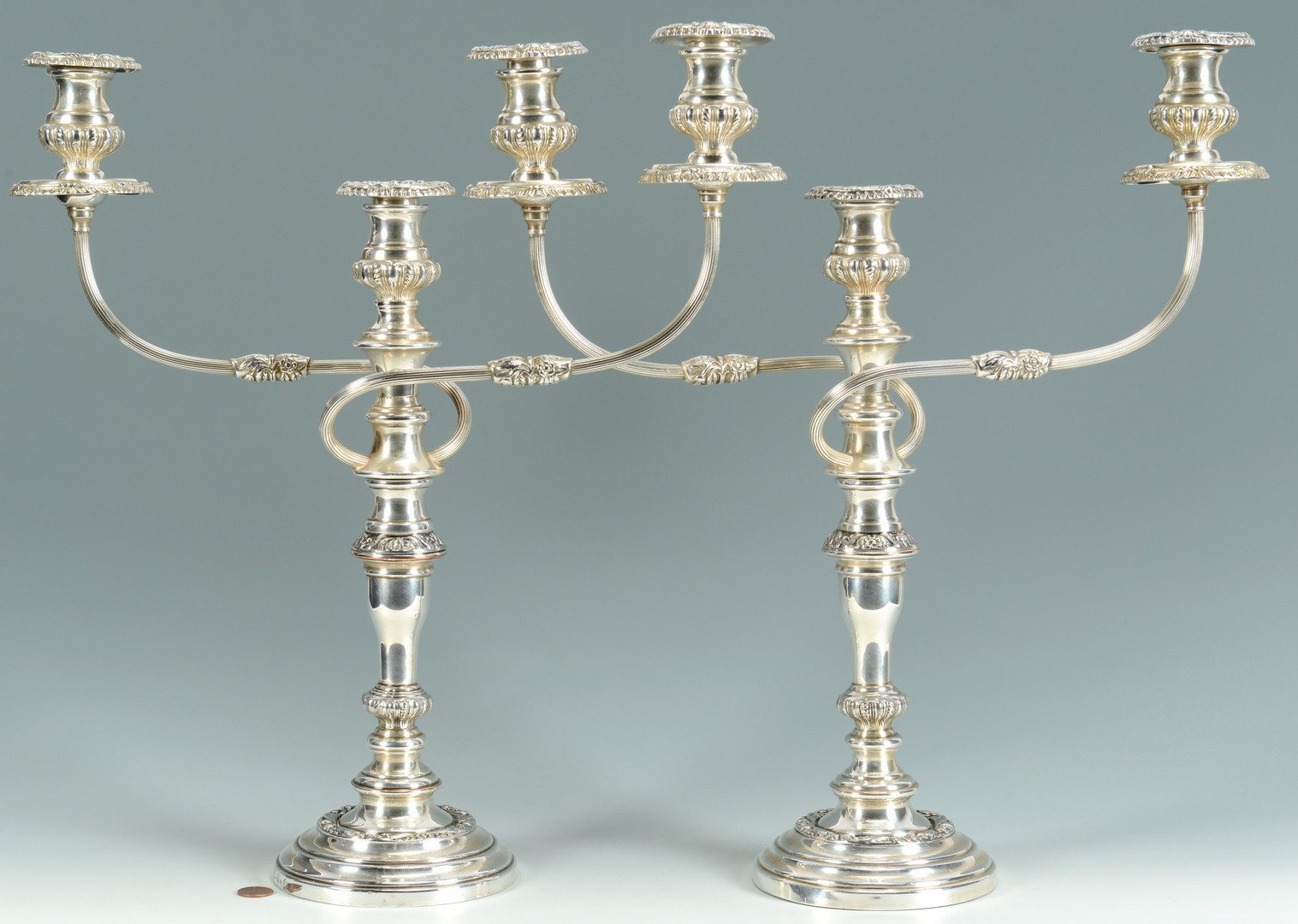 Lot 803: Pair Silverplated Candelabra