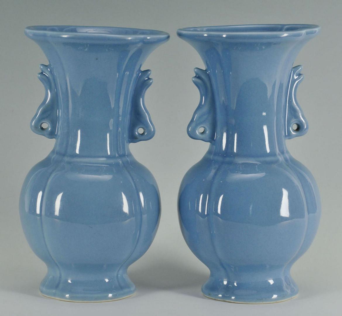 Lot 811: Chinese Bulb Bowl & Pair Claire de Lune Vases