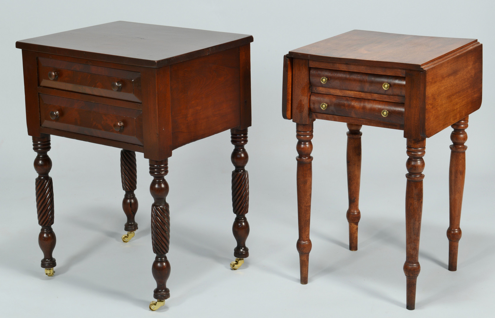 Lot 824: Pair of 2 Drawer Tables, 1 w/ Spiral Legs