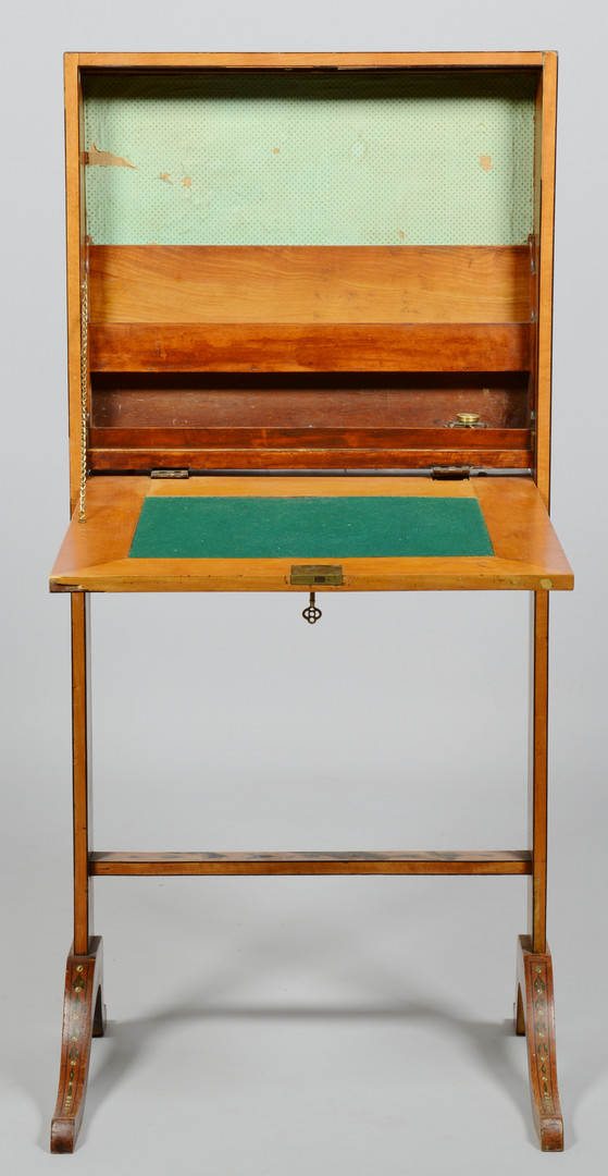Lot 828: Painted Escritoire or folding ladies desk