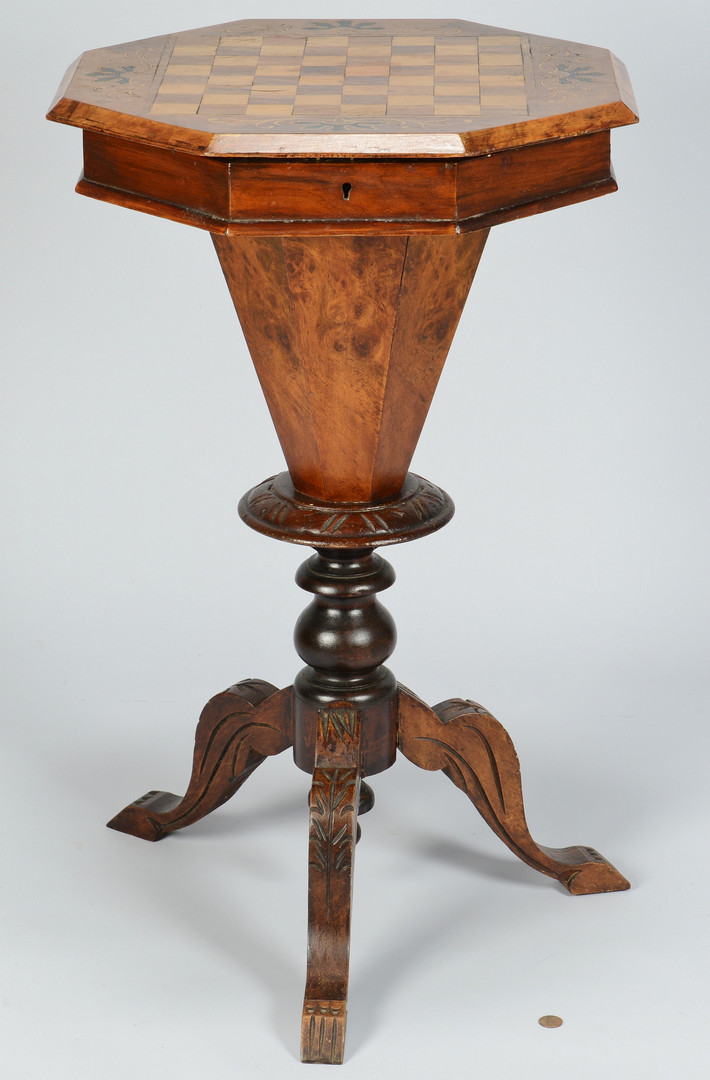 Lot 829: Inlaid Sewing and Game Stand