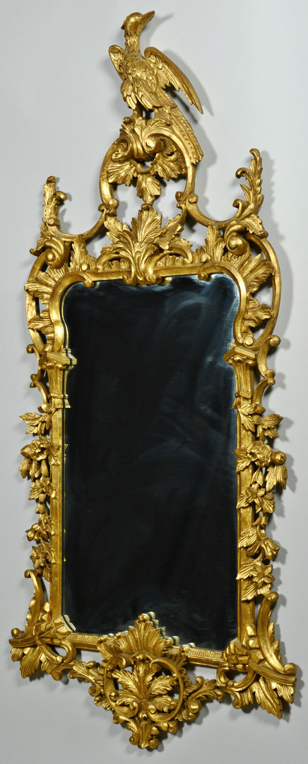 Lot 830: Chippendale style gilt mirror