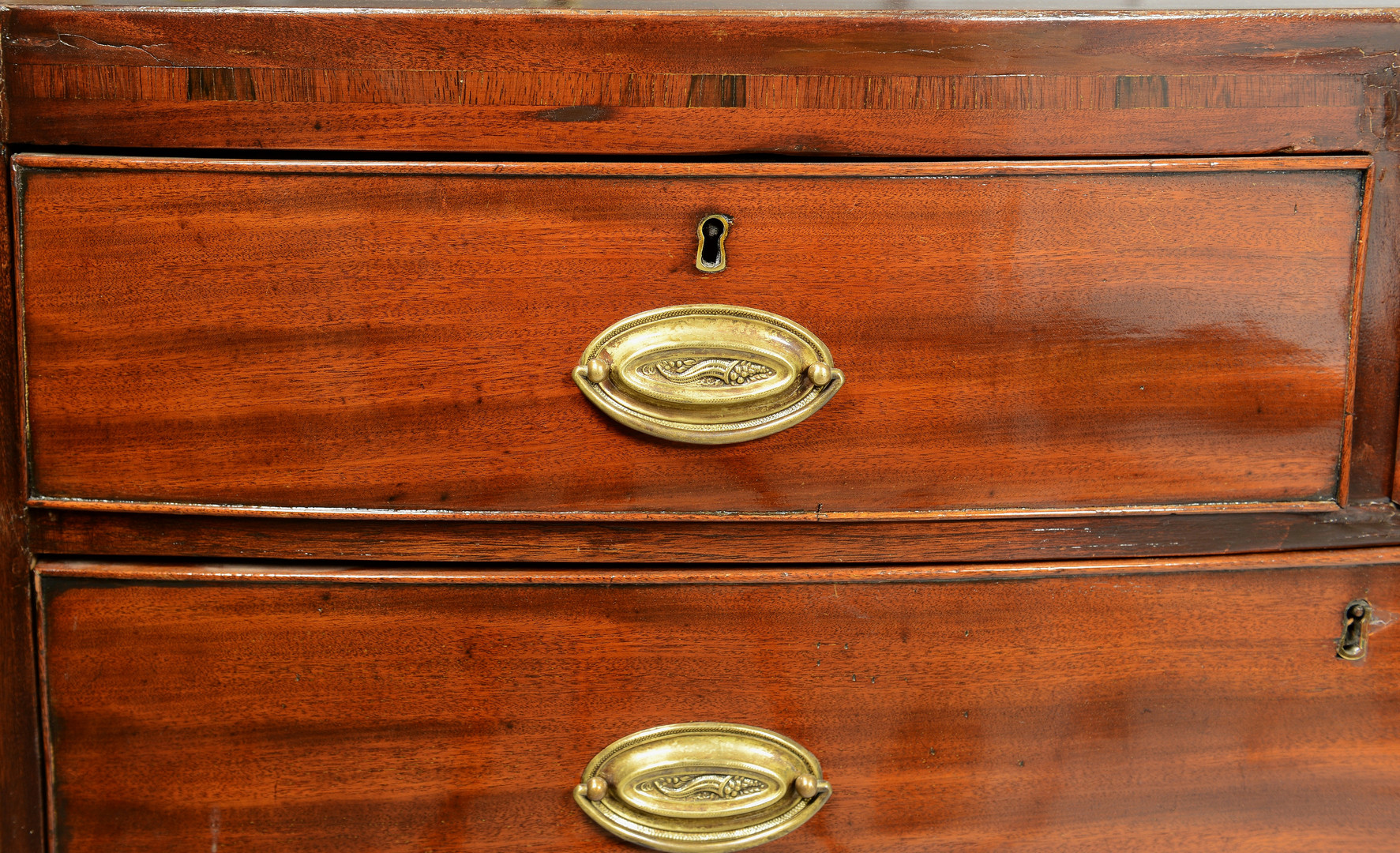 Lot 831: English Mahogany Bowfront Chest