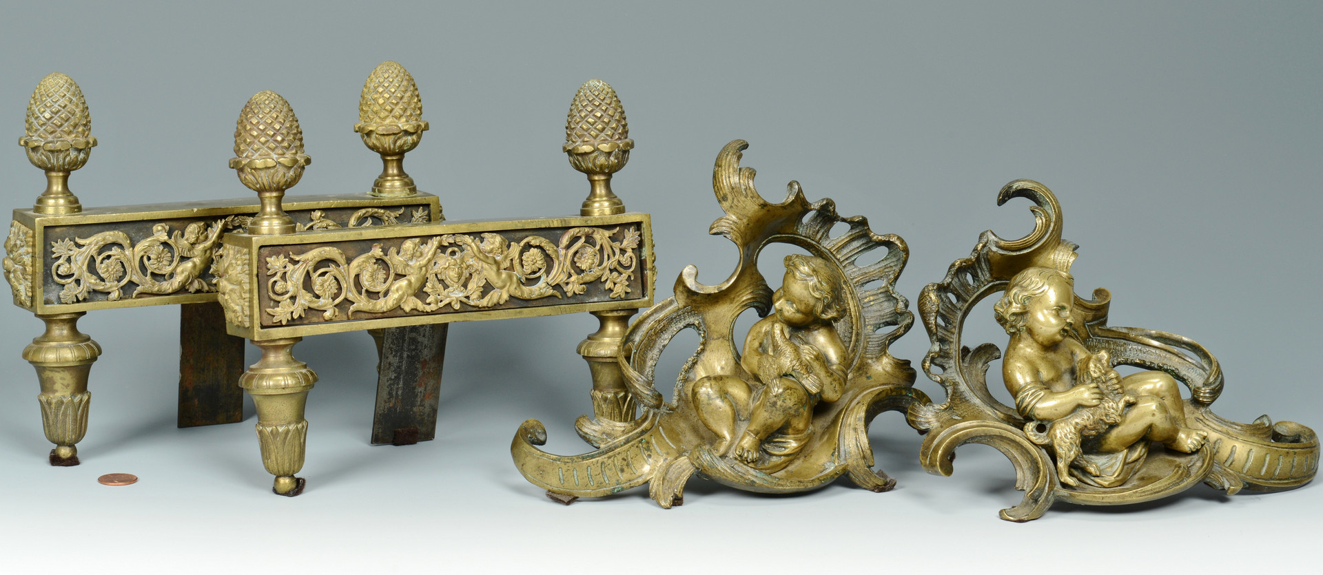 Lot 836: 2 Pair French Gilt Bronze Chenets