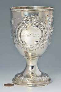 Lot 83: Coin Silver Goblet, poss. Southern