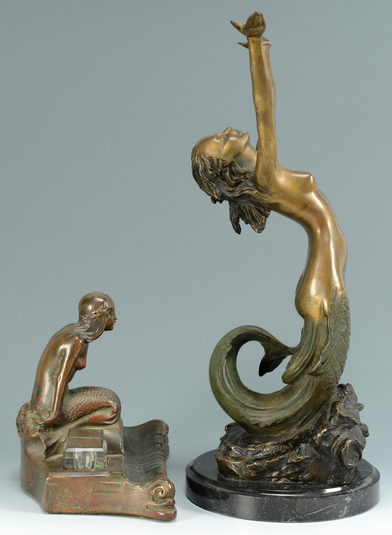 Lot 841: Bronze Mermaid Figure & inkwell