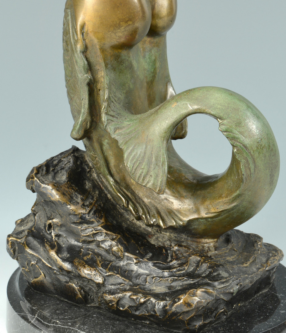 Lot 841: Bronze Mermaid Figure & inkwell