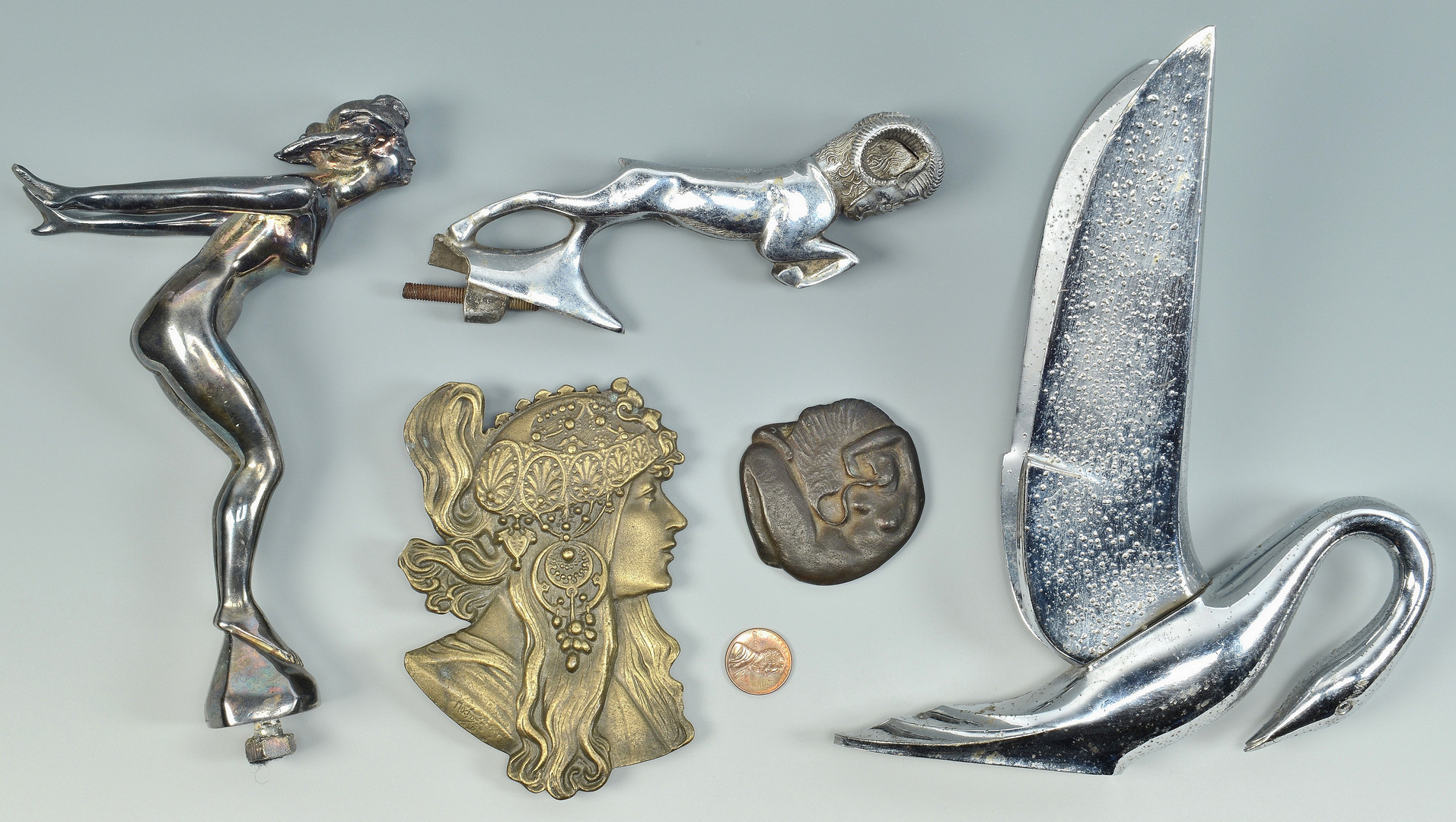 Lot 844: 5 Bronze & Chrome Items inc. Car Hood Ornaments