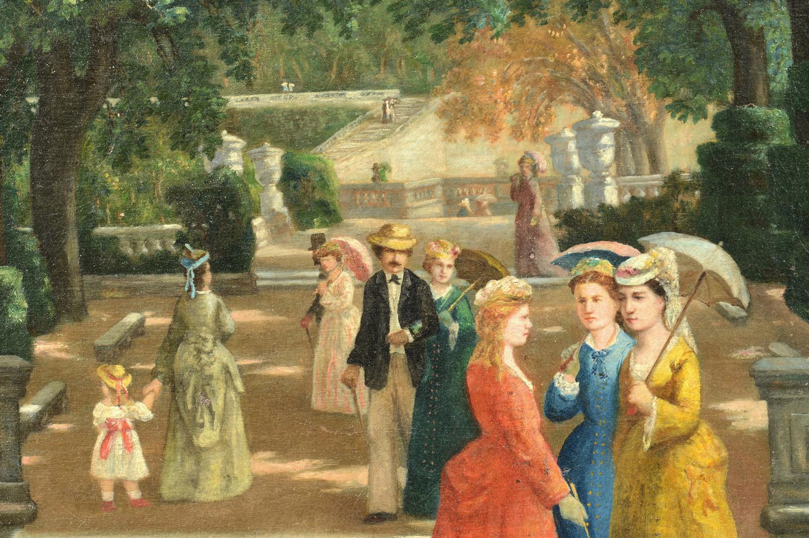 Lot 848: Henri Douzil o/c, terrace scene