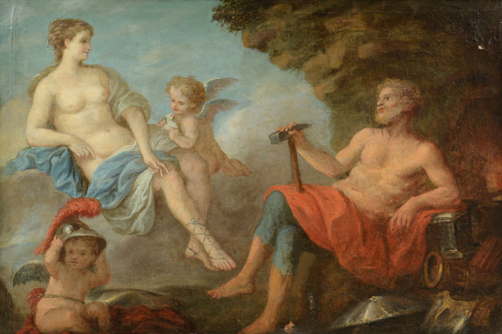 Lot 851: Attr. LaGrenee, Vulcan and Venus, oil on canvas