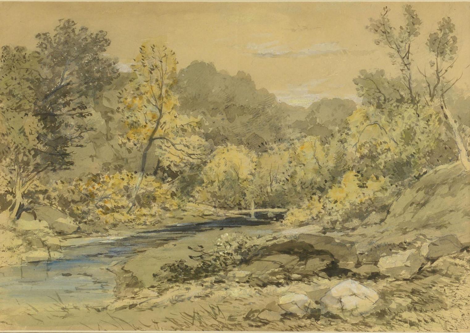 Lot 856: American school watercolor landscape