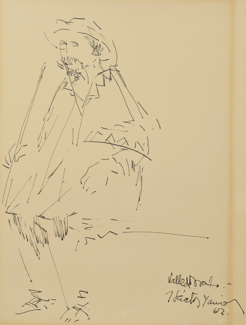 Lot 861: Hector Xavier Ink Drawing dated 1962