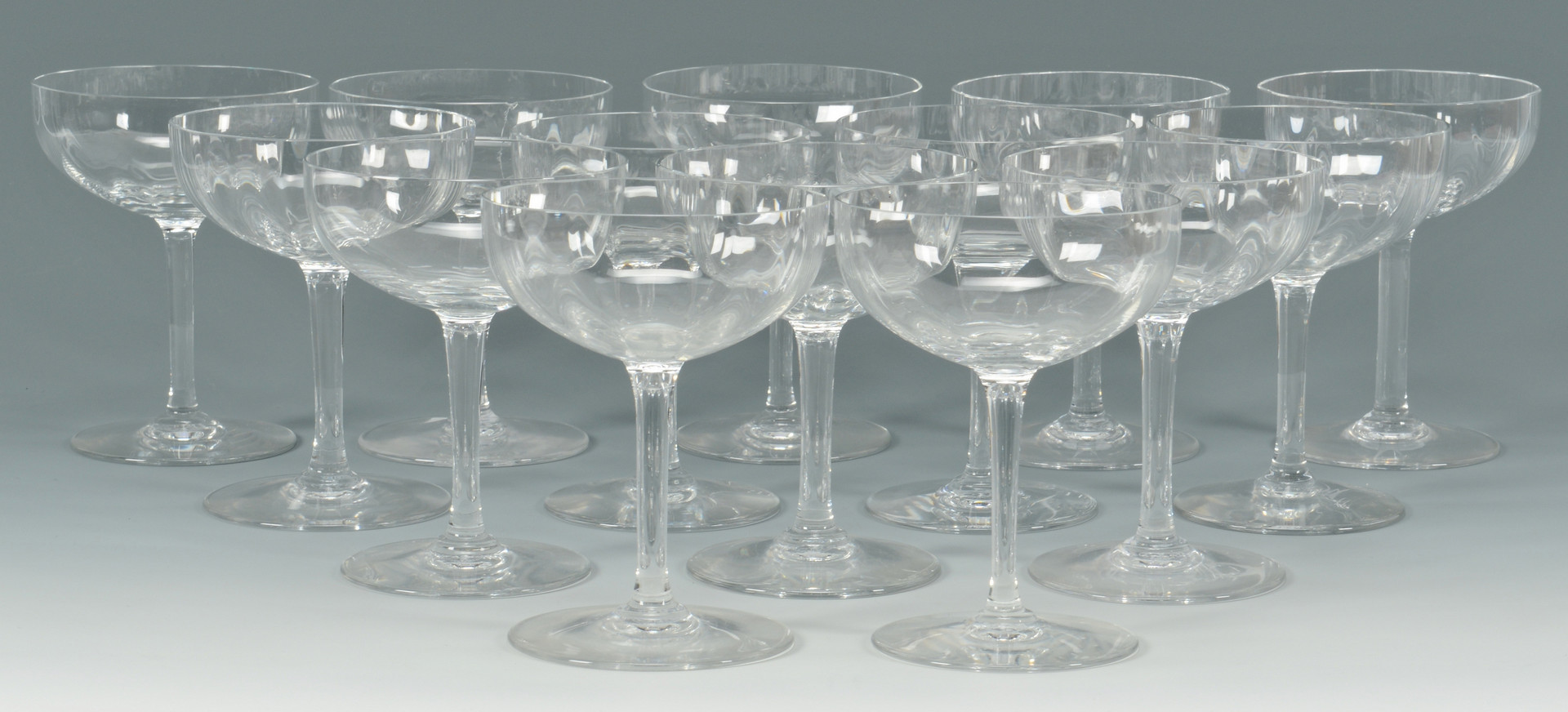 Lot 876: 14 pcs Baccarat Montaigne Pattern Stemware