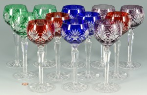 Lot 879: 12 Colored Crystal Wine Goblets