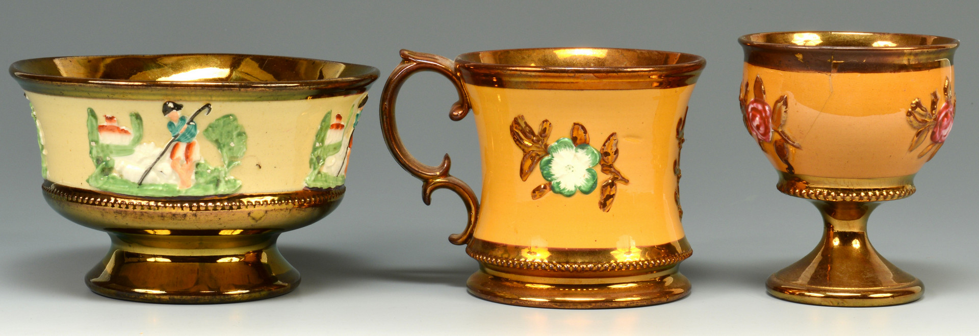 Lot 885: Group of English Copper Lusterware