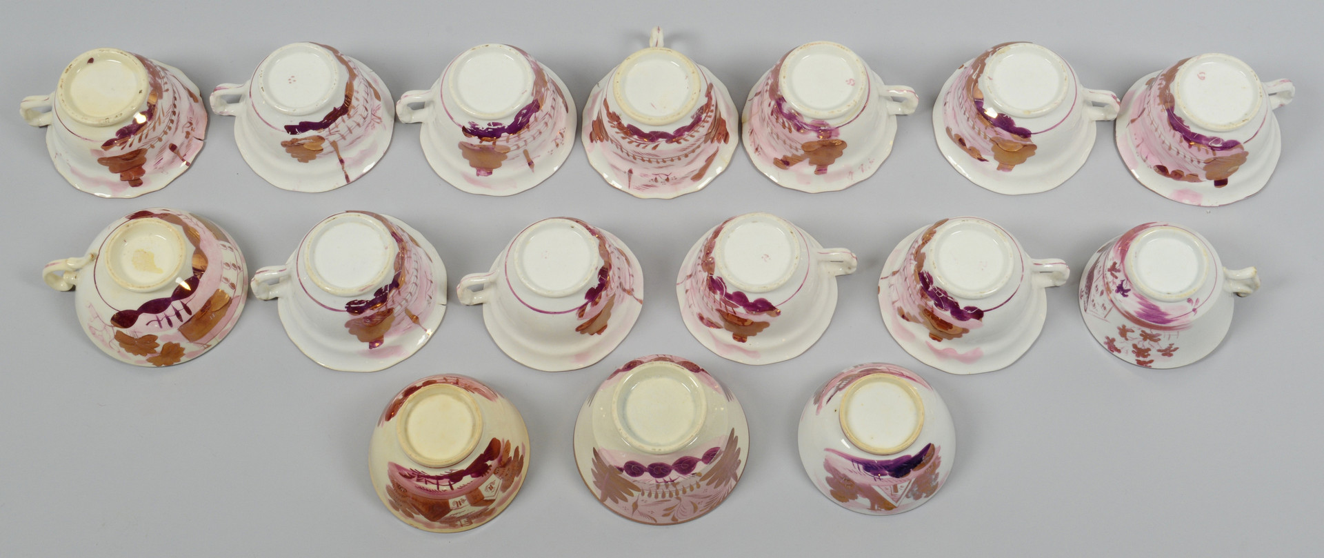 Lot 888: Assembled Grouping of Pink Lustre, 37 pcs.