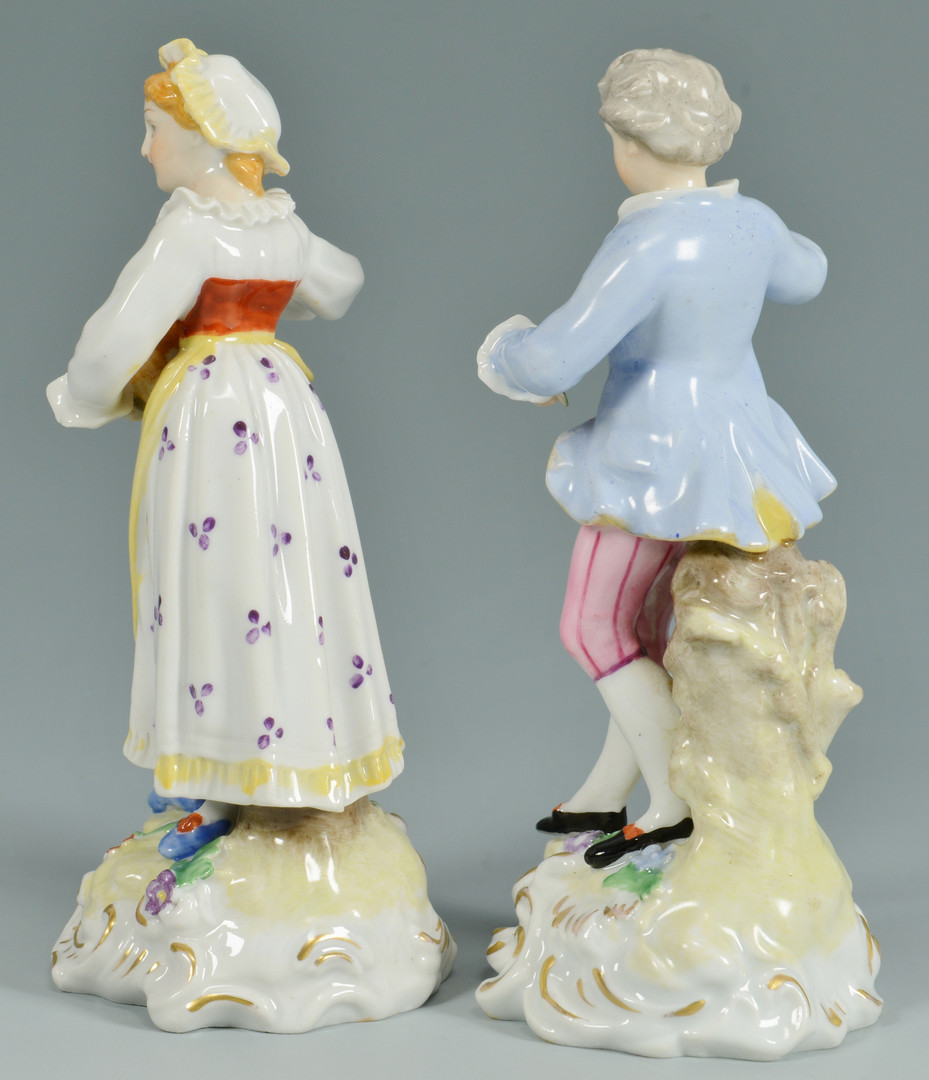 Lot 890: Pair European style Figurines & Plates