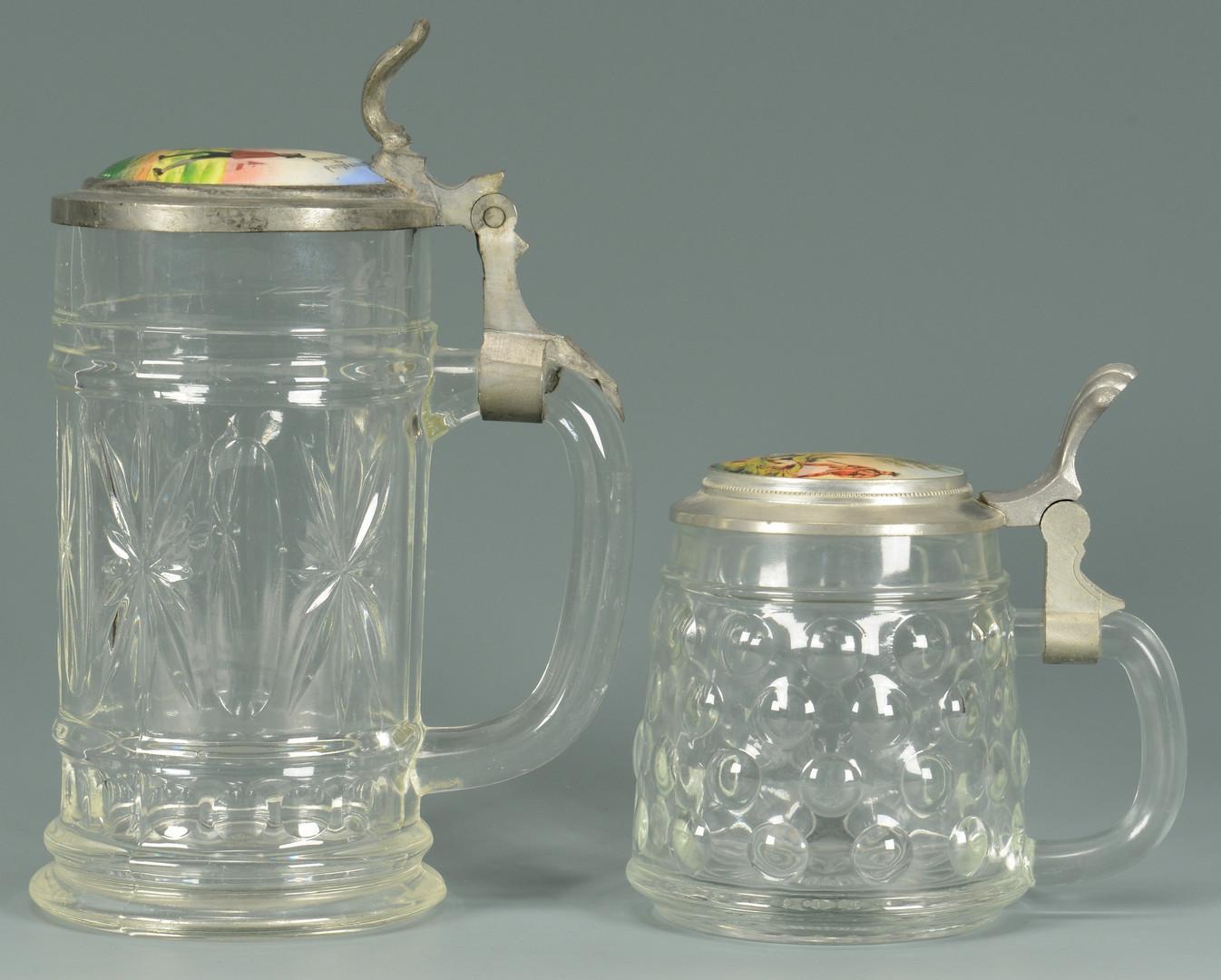 Lot 892: 7 German Steins – 4 Glass & 3 Earthenware