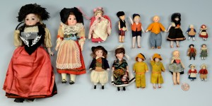 """Lot 895: Collection 18 dolls, 1-1/2""""-9"""" H"""