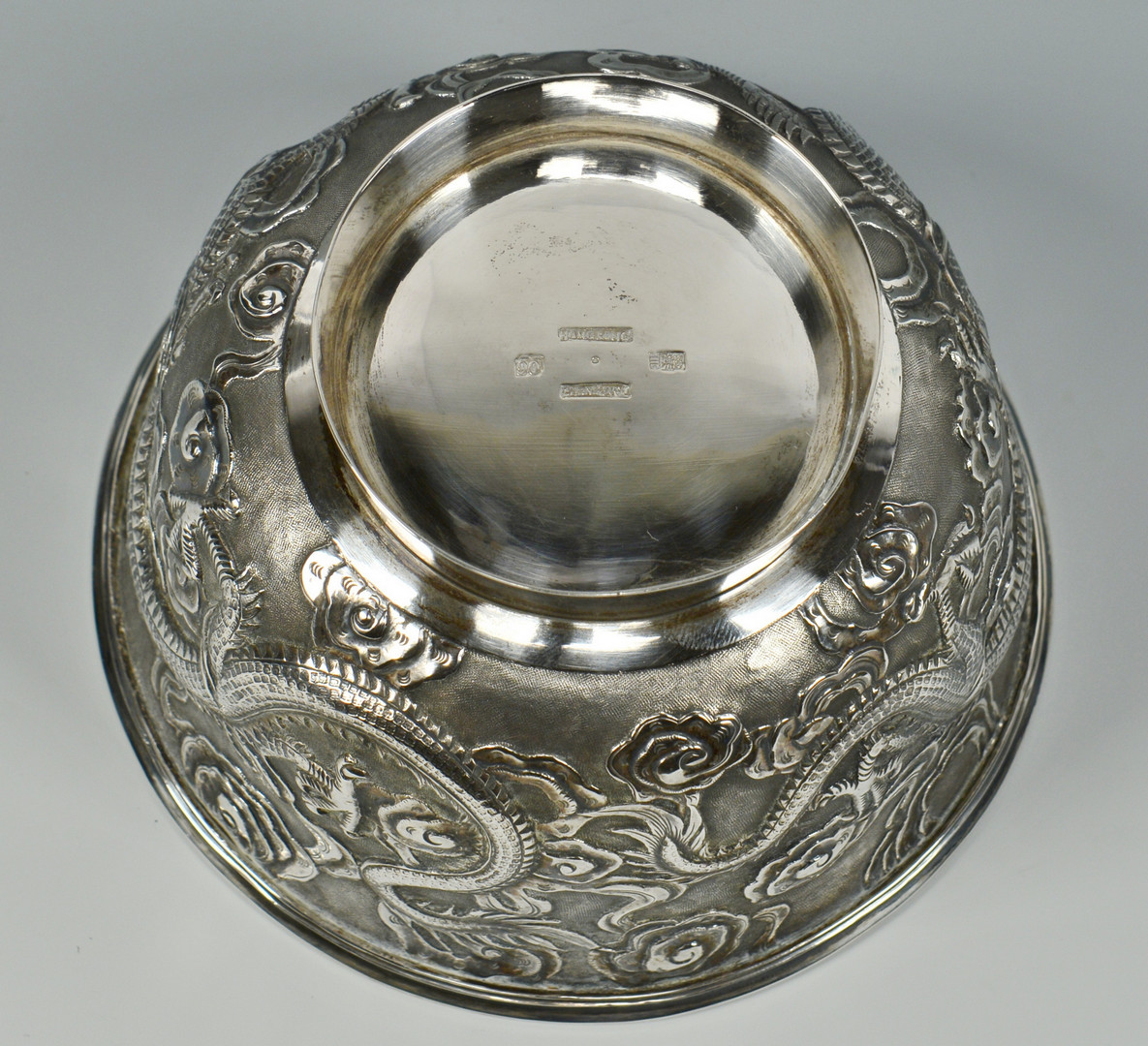 Lot 8: Chinese Export Silver Bowl w/ Dragon Design