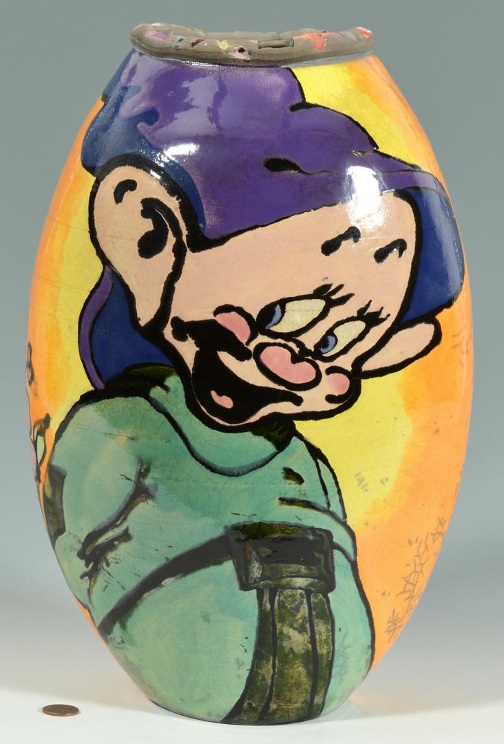 Lot 909: Large Dopey Limited Edition Raku Vase