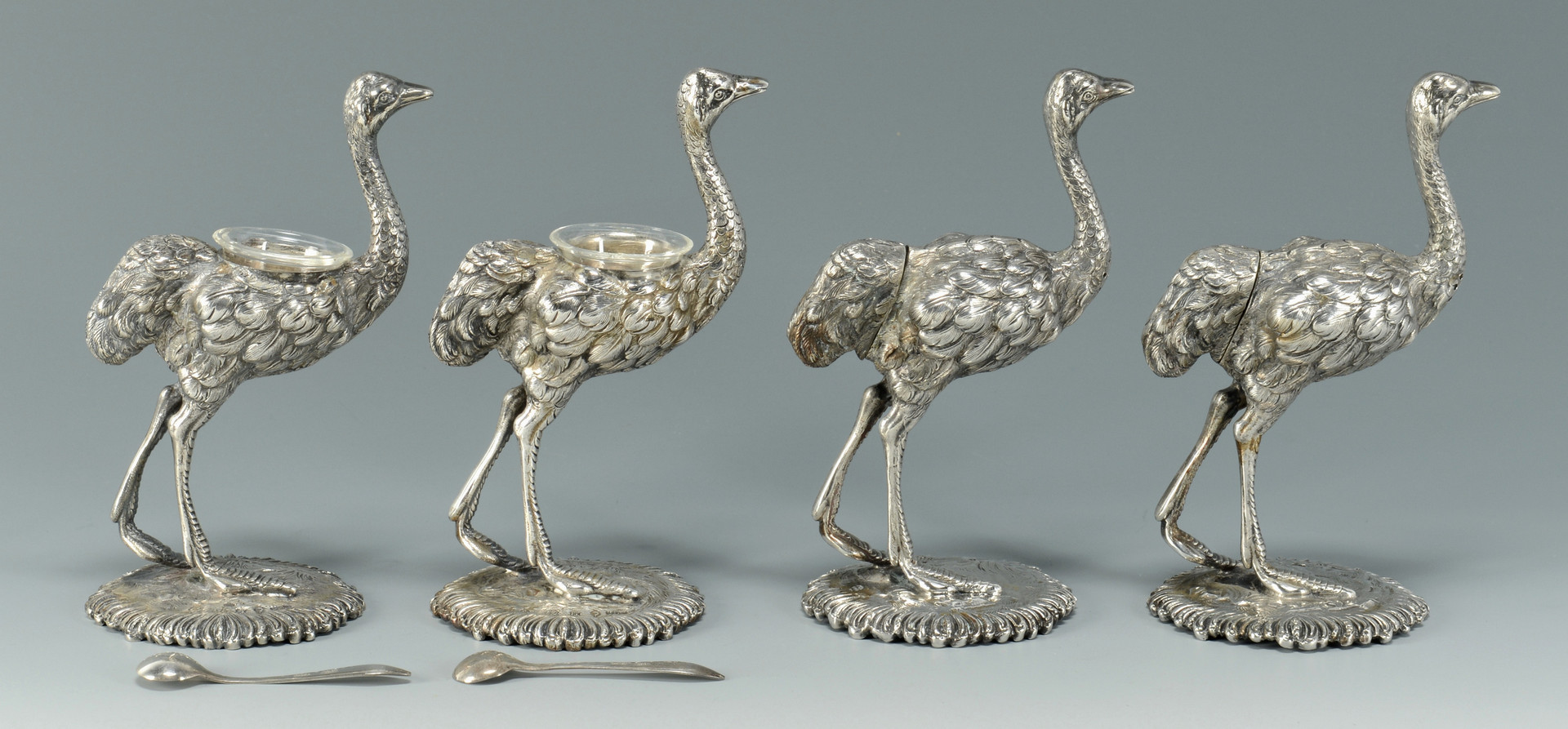 Lot 90: 4 Silver Ostrich Salts inc Shakers
