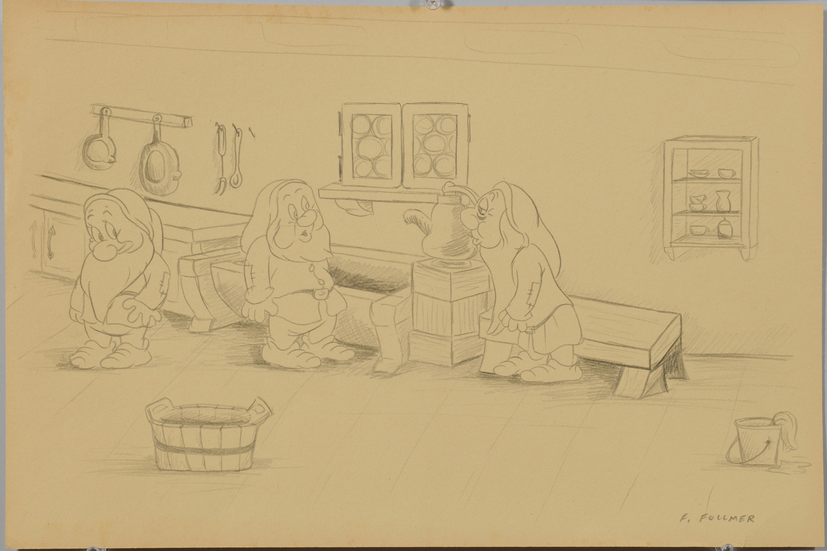 Lot 911: F. Follmer, 2 Snow White Drawings