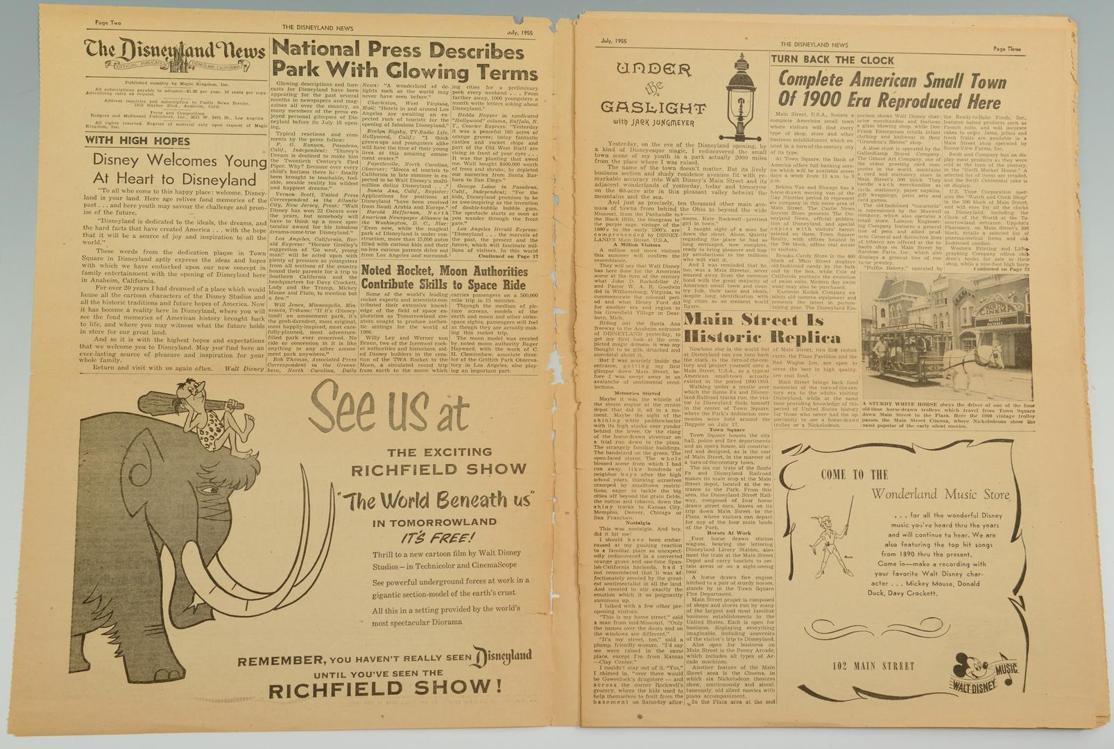 Lot 913: 1955 Disneyland News, Vol. 1, Num. 1