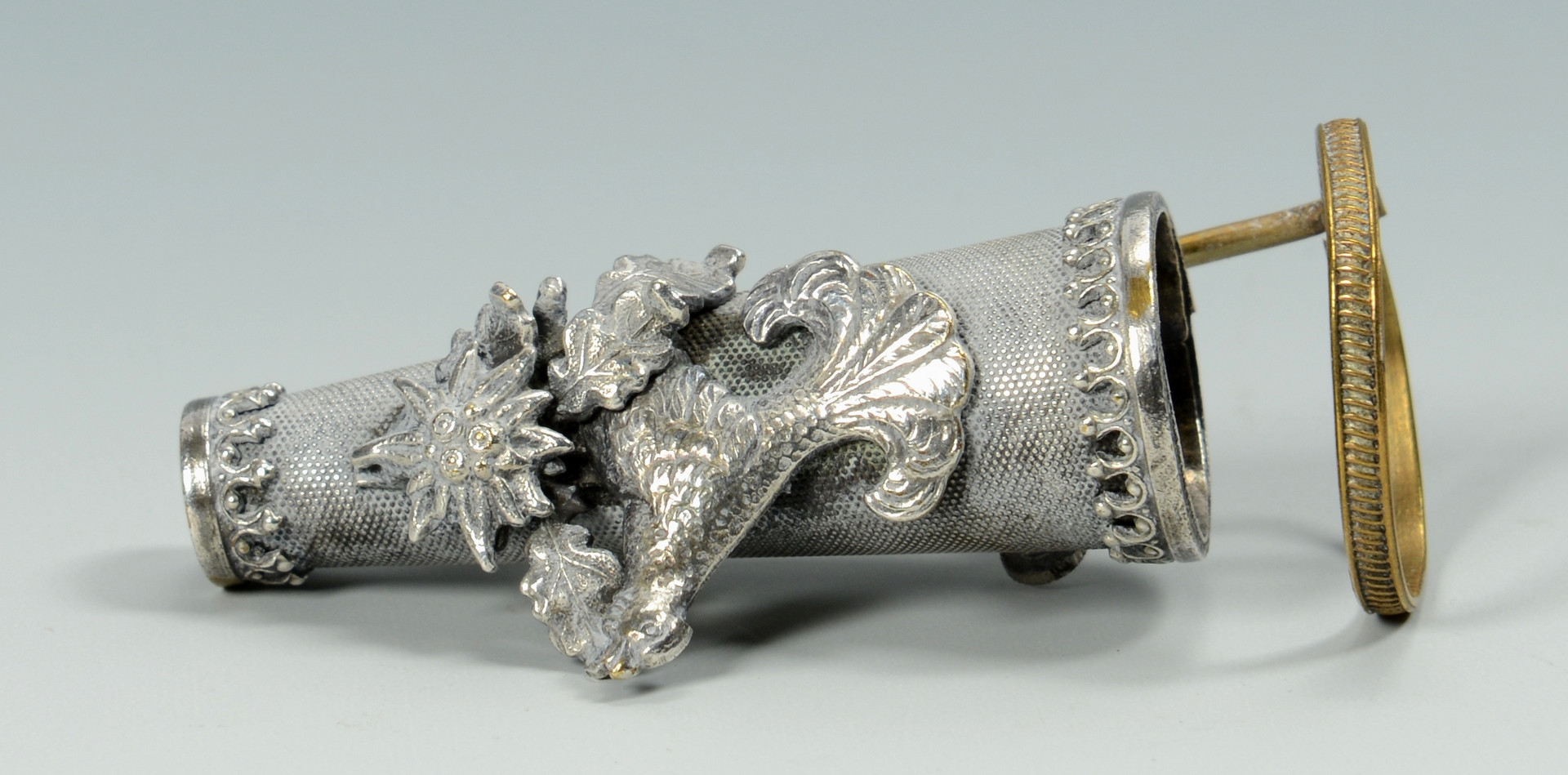 Lot 921: Two Posy Holders, sterling and mixed metals