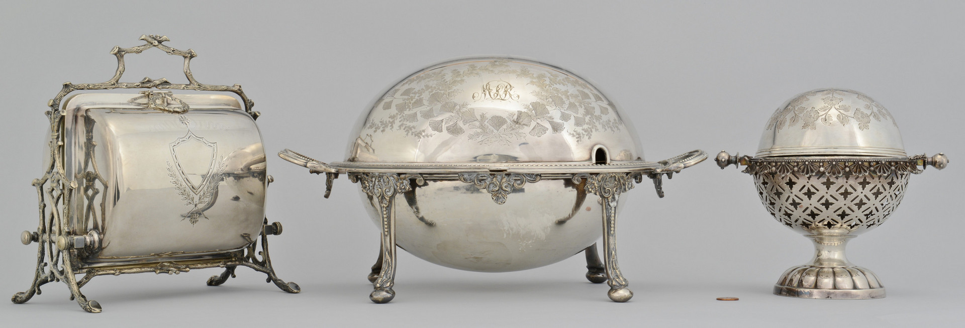Lot 923: Biscuit Box, Bacon Server, Butter Dome