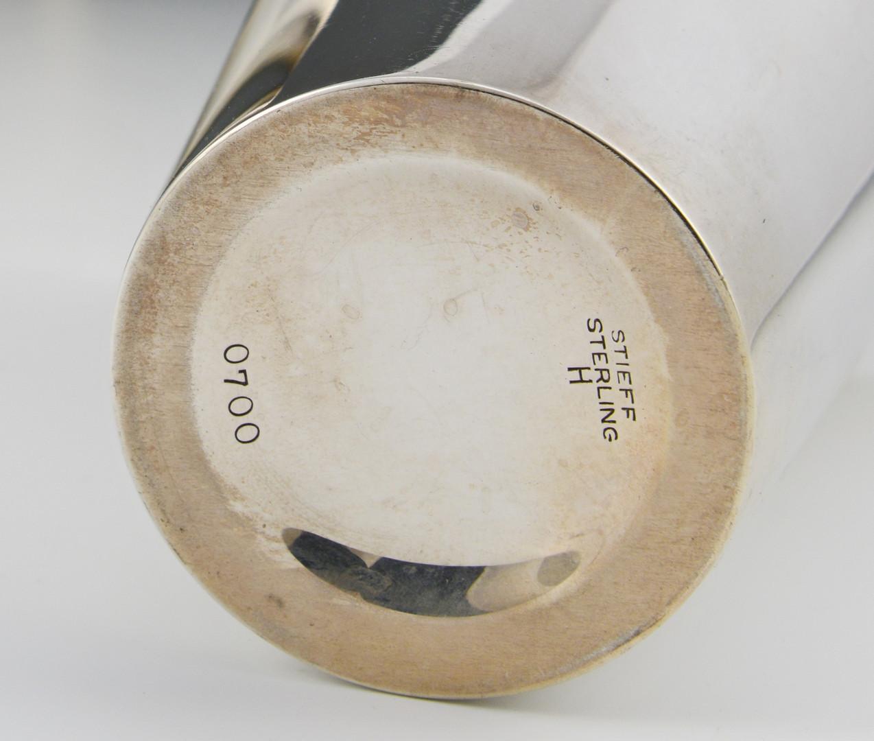 Lot 93: 8 Stieff Sterling Silver Beakers