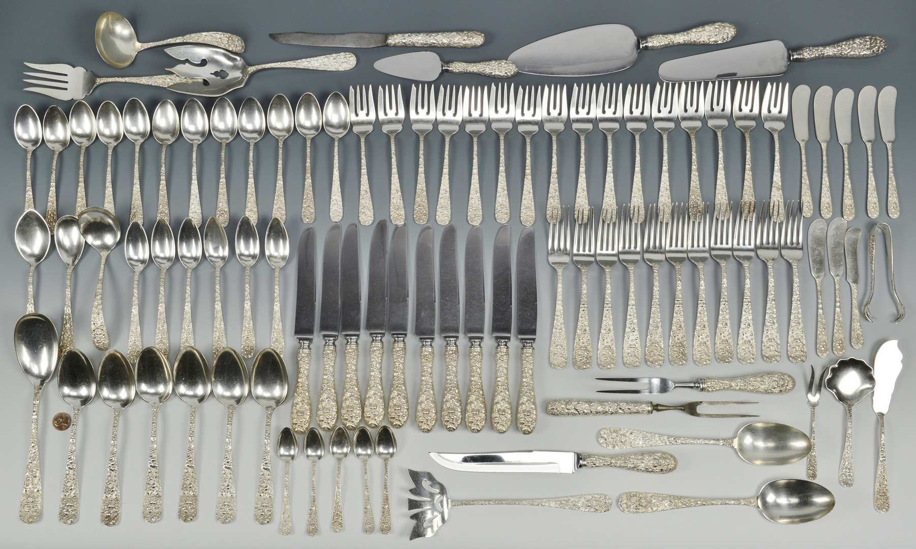 "Lot 94: ""Stieff Rose"" Flatware, 95 pcs"