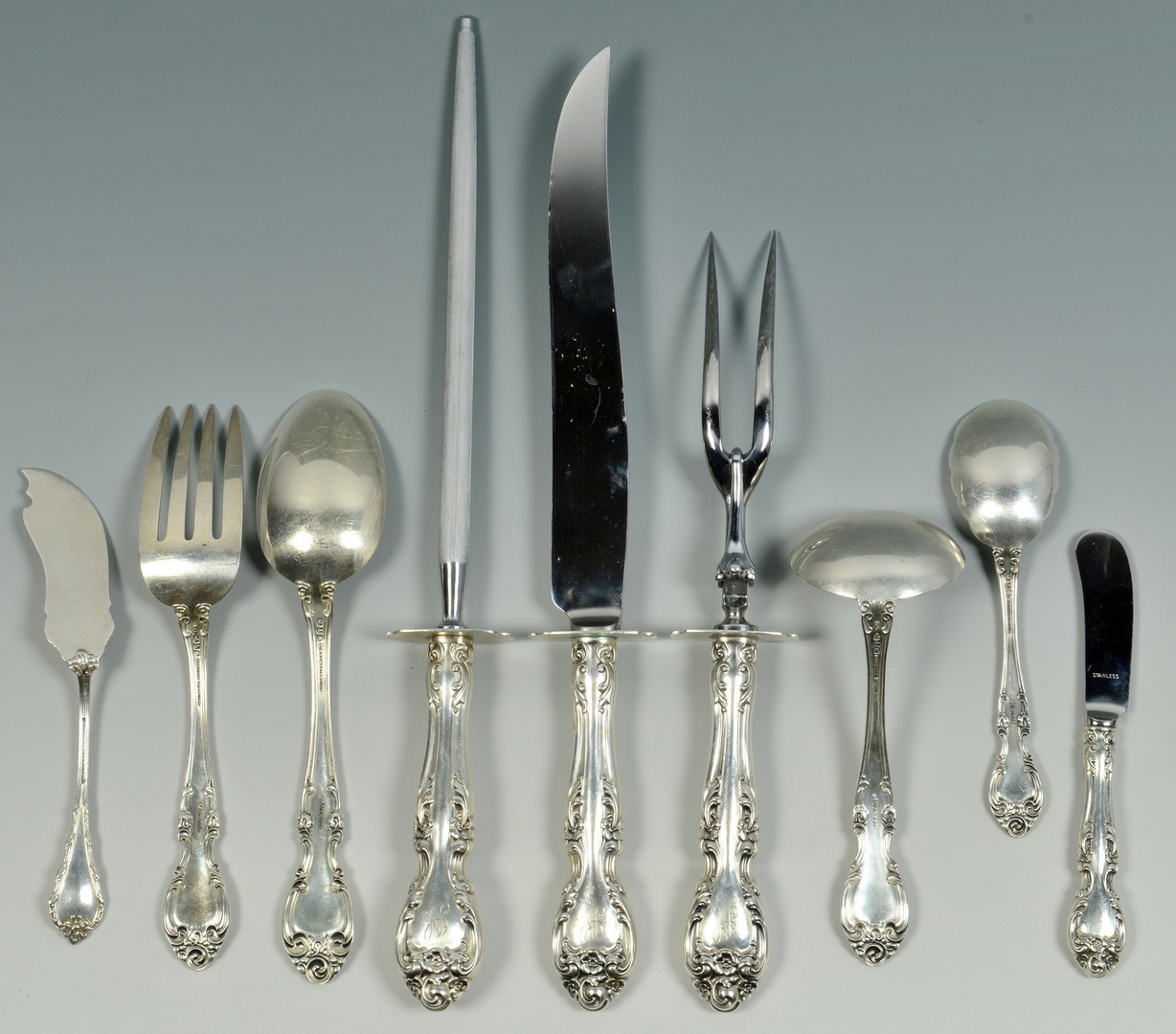 Lot 96: Gorham Melrose Sterling, 118 pcs