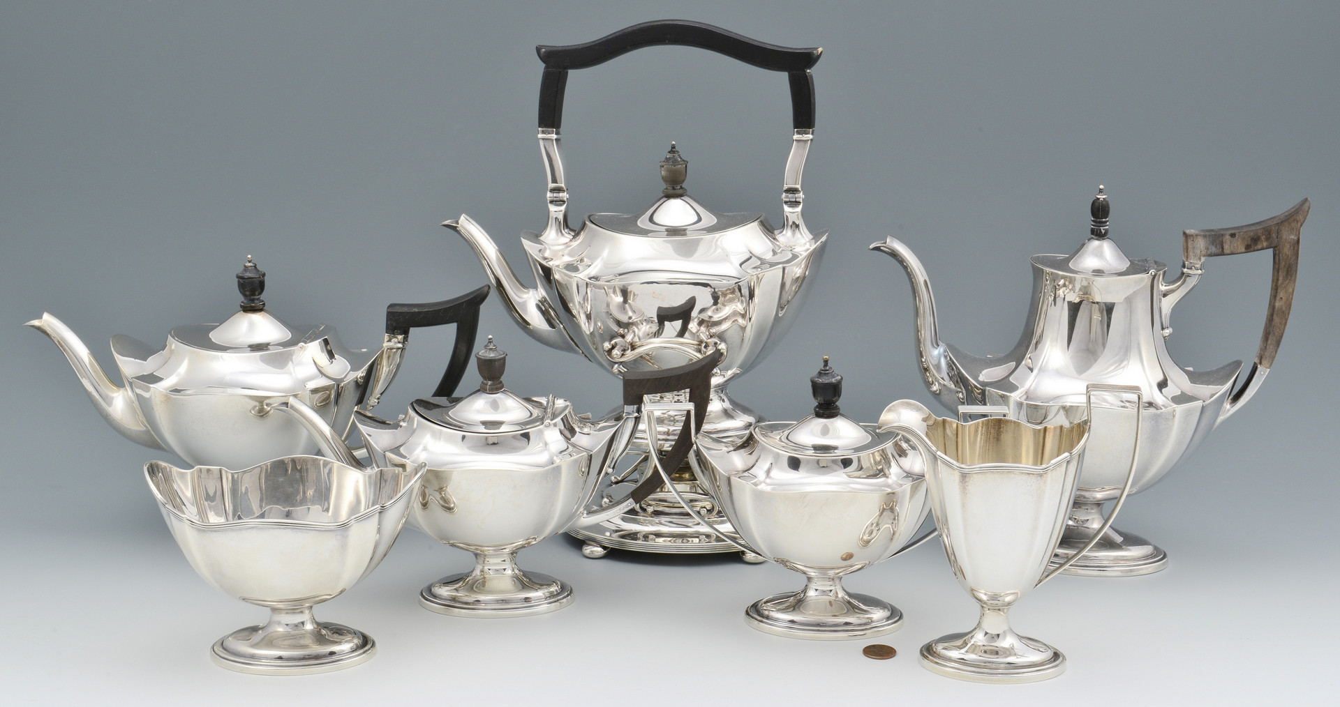 Lot 98: Gorham Sterling Tea Service, 7 pcs.
