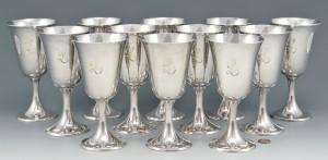 Lot 99: Set of 12 Gorham Sterling Goblets