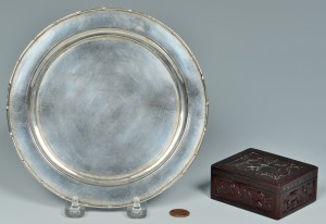Lot 9: Chinese Silver Zeewo plate, Cherry Amber Box