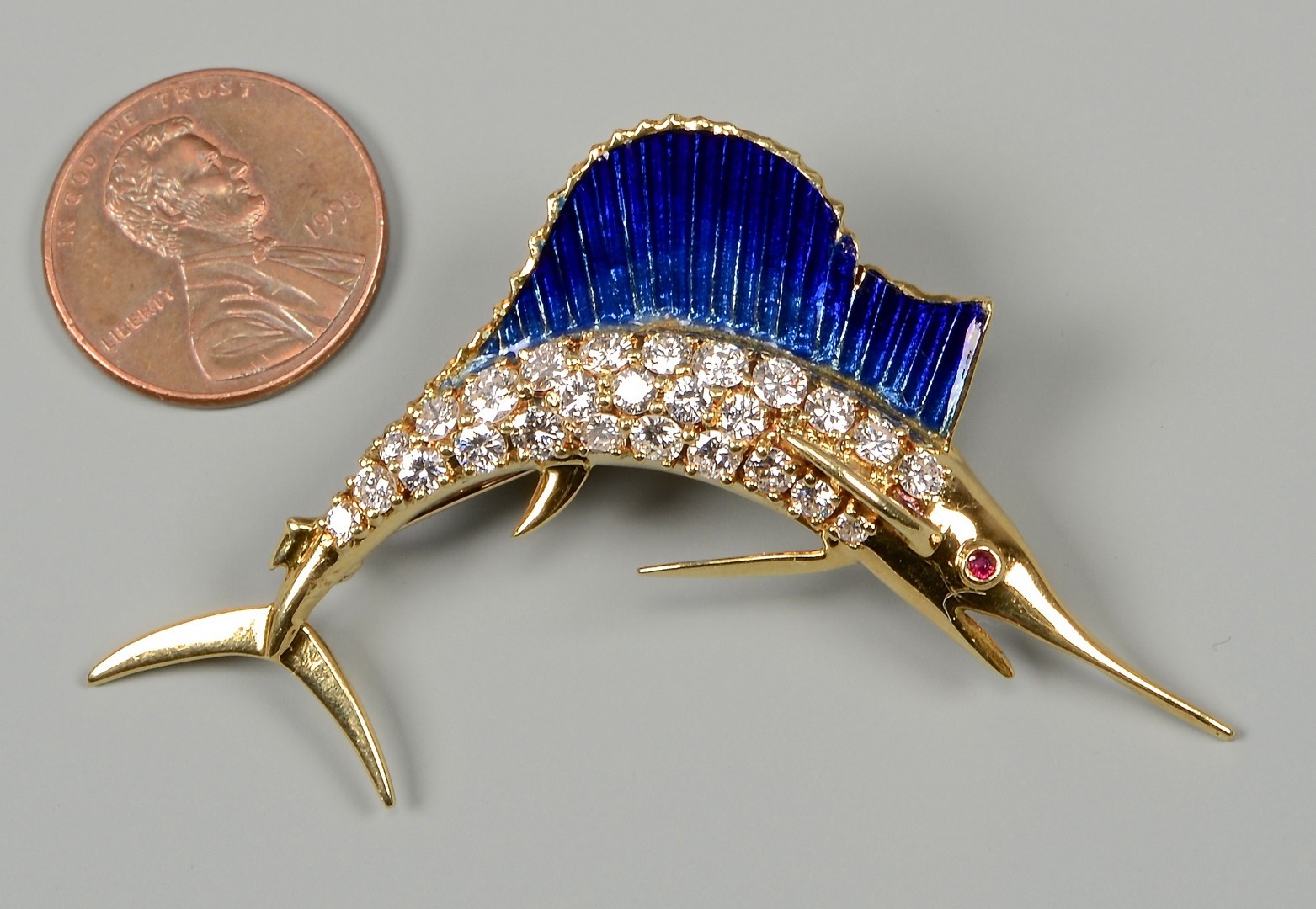 Lot 104: 18k Enamel Diamond Marlin Brooch