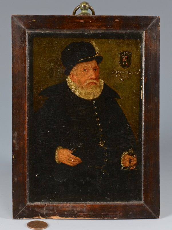 Lot 109: O/B portrait of man dated 1587