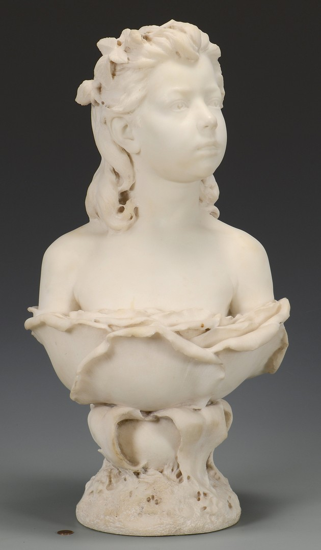 Lot 113: Italian Marble Bust, signed Bartoletti
