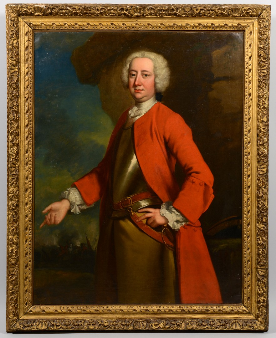 Lot 114: 18th C. English School Officer Portrait