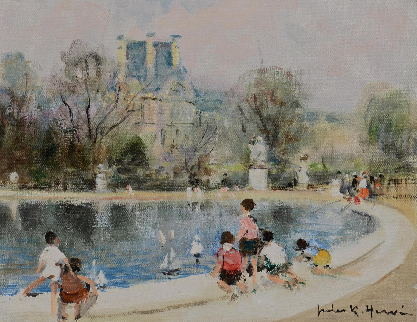 Lot 118: Jules Rene Herve Oil on Canvas, Children w/ Boats