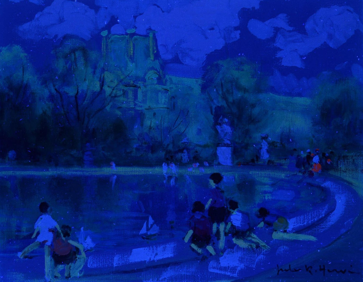 Lot 118: Jules Rene Herve Oil on Canvas, Children w/ Boats