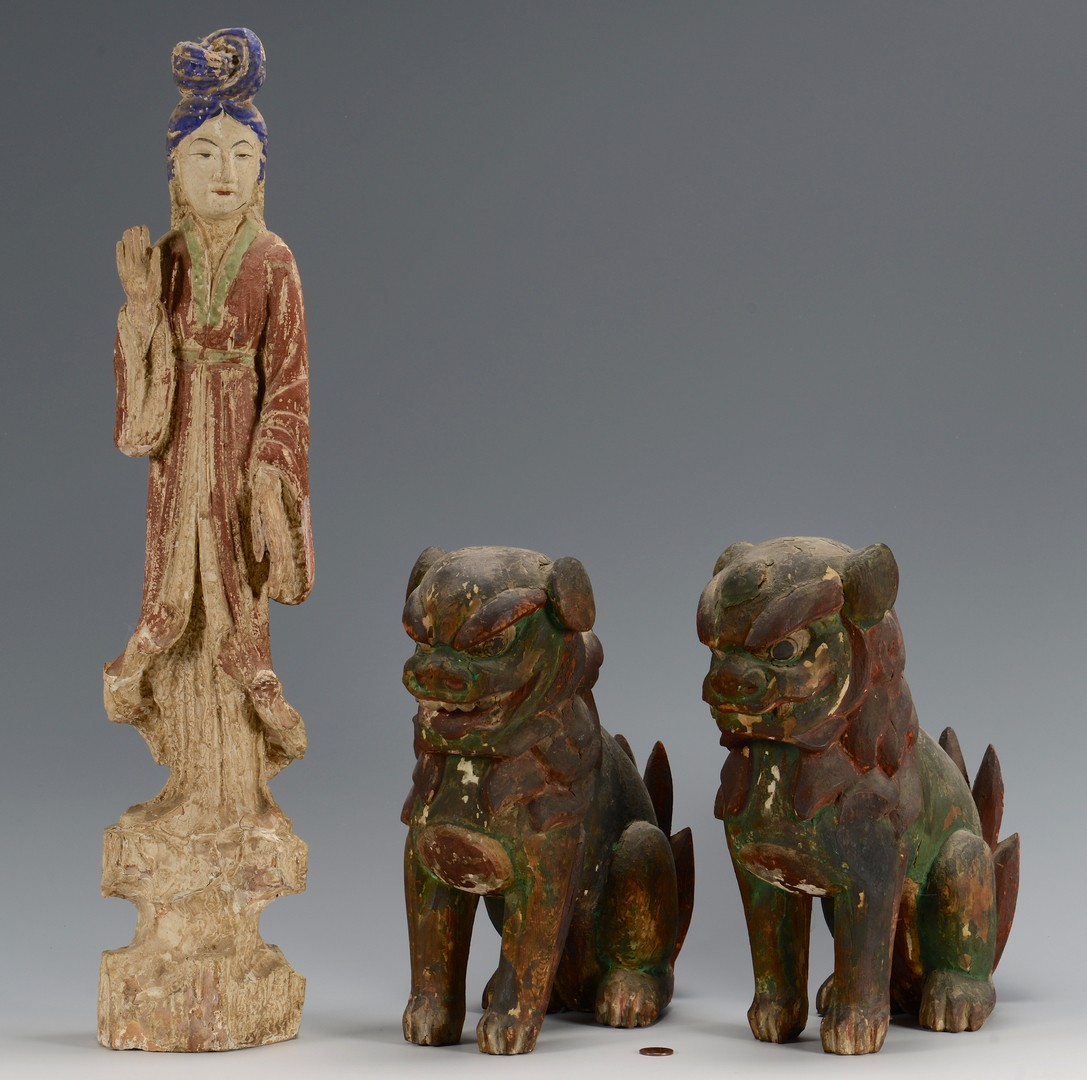 Lot 11: Carved Quan Yin and Foo Dogs