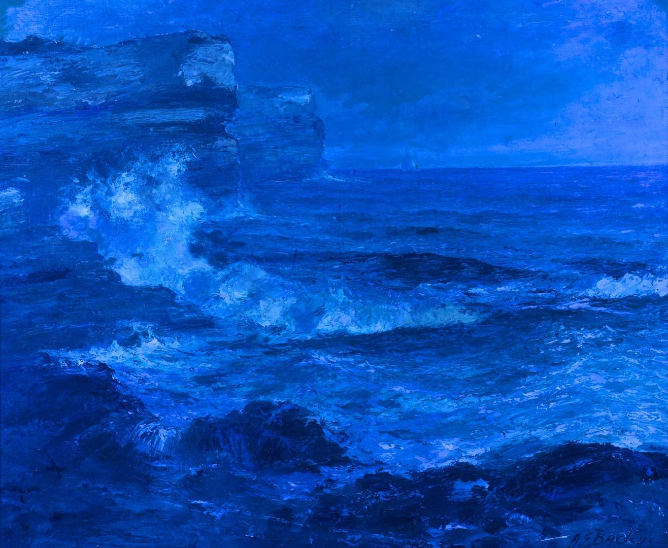 Lot 120: A.E. Backus oil on canvas seascape, 25 x 30