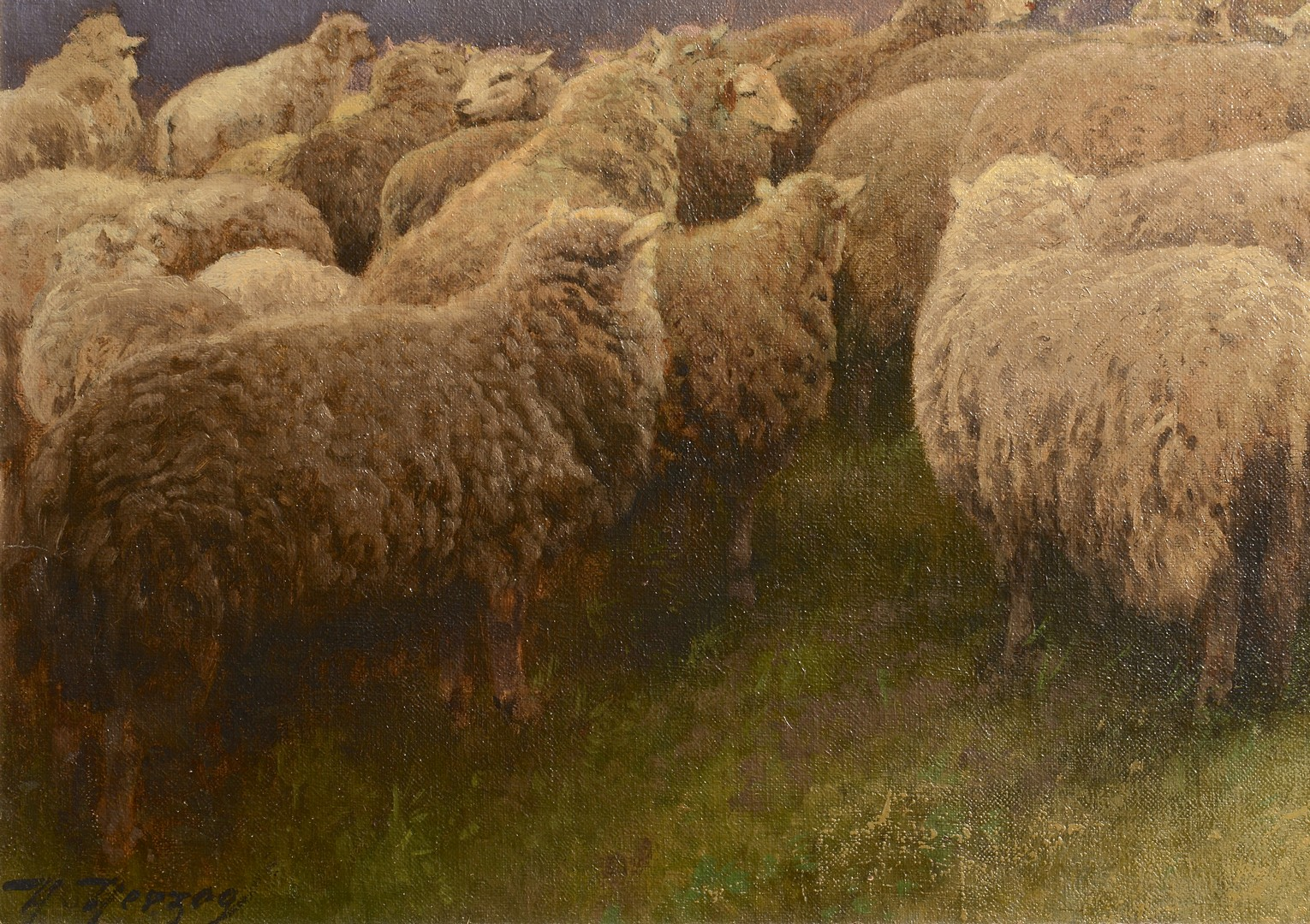 Lot 121: Hermann Herzog oil landscape with sheep