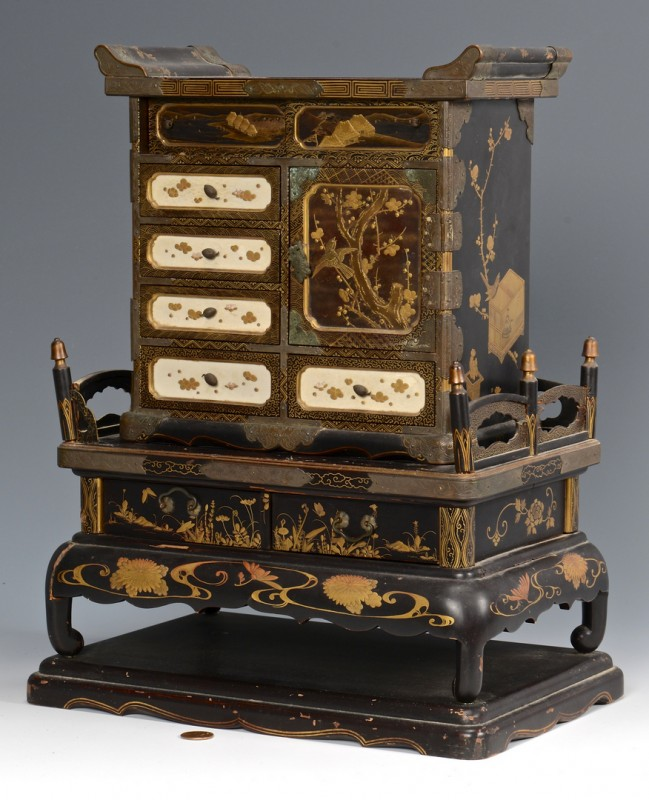Lot 12: Japanese Takamaki-e Miniature Cabinet