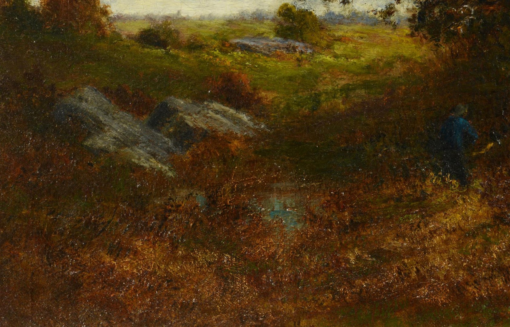 Lot 130: Catherine Wiley, O/C Landscape w/ figure